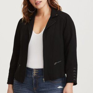 Torrid Black Lattice Crepe Moto Jacket Size 2X